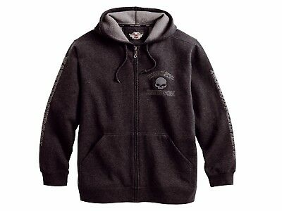 Genuine Harley Davidson Mens Grey Hooded Willie G Skull Hoodie Jumper 99107-18VM