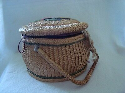 Vintage Sewing Basket - Contains Mix Lot Haberdashery Items