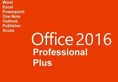 Microsoft Office 2016 Prof. Plus Produkt Key für 5 PC's + Installations-DVD