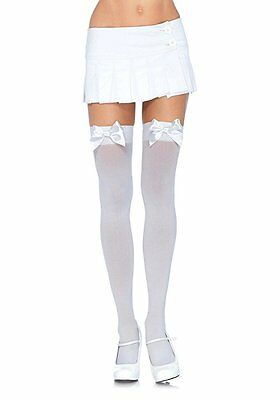 Leg Avenue Womens Opaque Thigh High Stockings with Satin Bow White