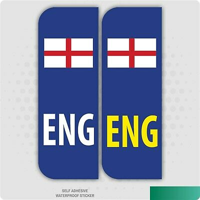 2 x ENG FLAG ENGLAND Car Number Plate vinyl stickers
