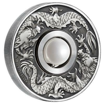 Tuvalu 1 Dollar 2017 Dragon and Pearl Bewegliche Kugel 1 Oz Silber Antik Finish