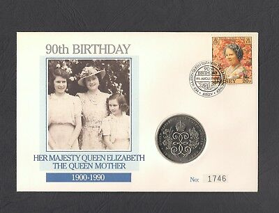 1990 Jersey £2 Coin Cover - HM Queen Mother 90th Birthday