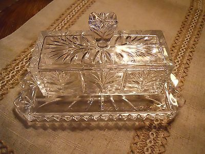 Beautiful Rectangle Etched Clear Glass Butter Dish with Tulip Shaped Handle