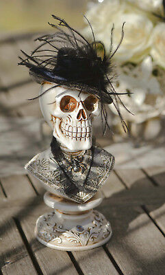 Halloween Skull Statue with black hat, feathers embellishment gothic Decoration