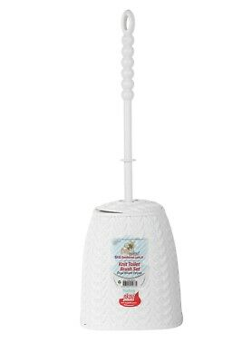 Toilet Brush & Stand Plastic Knit Pattern Bee Home Free Standing