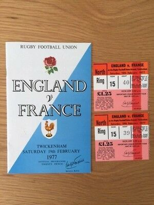 1977 ENGLAND v FRANCE RUGBY PROGRAMME AND 2 TICKETS