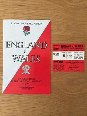 1976 ENGLAND v WALES RUGBY PROGRAMME AND TICKET