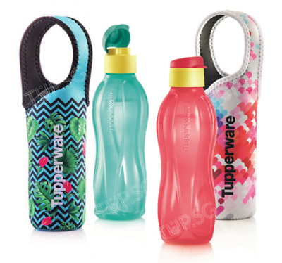 Tupperware Eco Bottle Flip Top 750ml with Flowery Pouch Set of 2