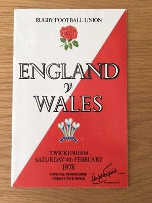 1978 ENGLAND v WALES RUGBY PROGRAMME