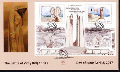 Canada 2017 OFDC #2981 Vimy, limited edition souvenir sheet cover