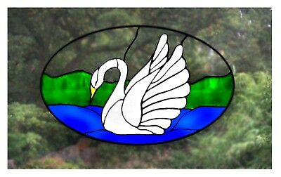 Swan Stained glass effect window decor cling
