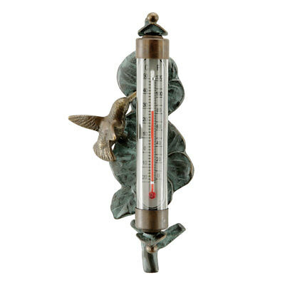 Brass Hummingbird Wall Mounted Thermometer