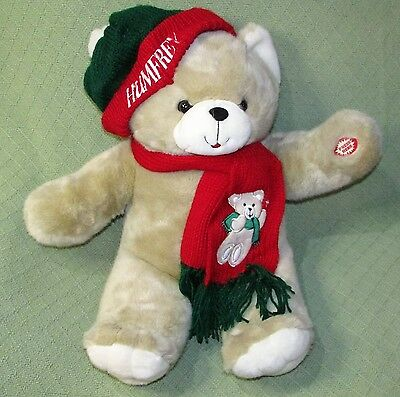 "24"" Vintage Humfrey TALKING Teddy Bear 1999 MAGICAL HUG Red Green Knit Hat Scarf"
