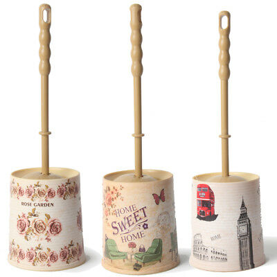 Toilet Brush & Stand Plastic Free Standing Rose, Garden and Capital City Pattern