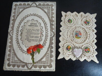 2 Early Victorian Valentine Cards Message On Silk Envelope Shape And Paper Lace