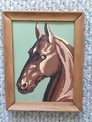 Vintage Paint By Number Horse Painting Art wall hanging decor framed Brown Green