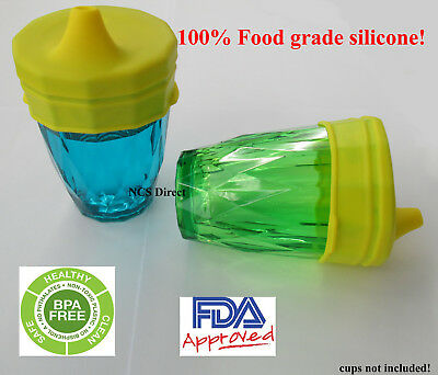 2 Yellow Silicone Sippy Cup Lids - Spill Proof Trainer Bottle Glass Sip Toddler