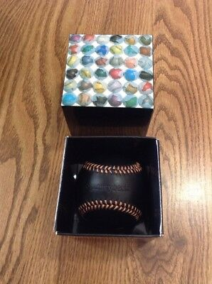 Spinneybeck Leather craft Baseball with Box , Black Orange Stripes