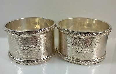 Antique Pair Sterling Silver Napkin Rings 1921 52grms