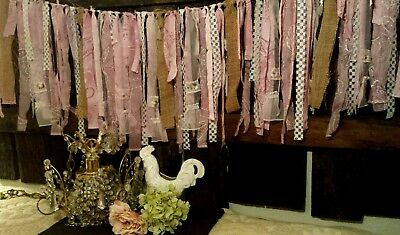 5 ft photo prop fabric garland Shabby Chic Wedding country pink mauve burlap vtg