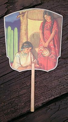 1940's or 50's TYPICAL MEXICAN SCENE ADVERTISING PAPER FAN SUN FLAME GLASBAKE