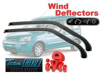 Team HEKO Tinted Wind Deflectors 2Pc Set Citroen Berlingo / Peugeot Partner 2008