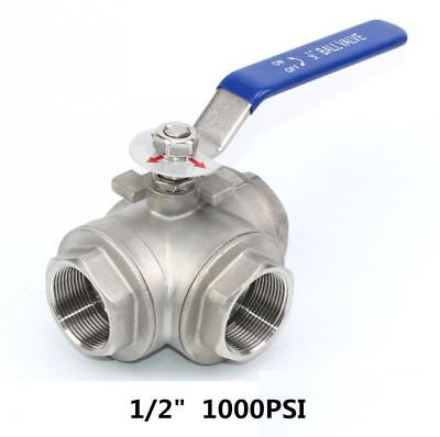 "1/2"" inch 3 way ball valve T Port 1000PSI NPT Stainless steel 304 Water Oil Gas"