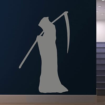 Grim Reaper with Cloak and Scythe Halloween Wall Art Sticker (AS10298)