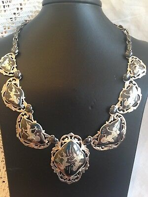 "VINTAGE SIAM DANCERS STERLING SILVER NIELLO NECKLACE 19"" 47.7g 1960s"