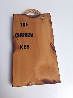 Vintage FUNNY Key Holder THE CHURCH KEY Wooden Wall Decor Plaque
