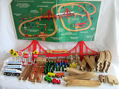 100 Pc. Wooden Train Set Whistlin Dixie Line The Railroad Kingdom Bullet Train