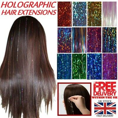 100 Strands Holographic Sparkle Woman Hair Glitter Tinsel Extensions Dazzles