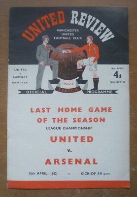 Manchester United (Champions) v Burnley, 1951/52 - Division One Programme