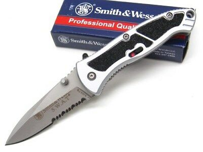 SMITH & WESSON S&W Small ASSISTED SWAT Serrated Folding Pocket Knife SWATS New!