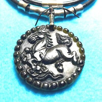 #46 HORSE Of OLD-JADE ROUND+ HAND-CARVED + 4mm WIDE LEATHER NECKLACE NATIVE MADE
