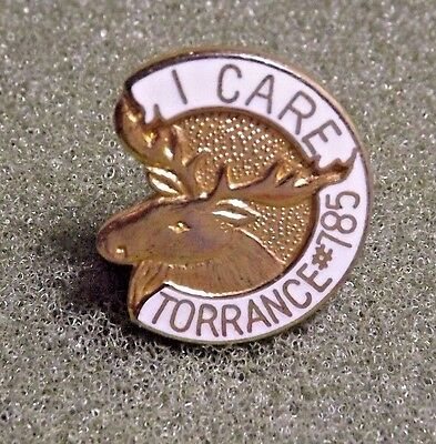 Moose Lodge #785 Torrance California I Care Lapel Pin Gold Toned With White