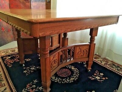 TIGER OAK HAND-CARVED QUARTER SAWN TABLE and FOUR OAK CHAIRS Circa 1900