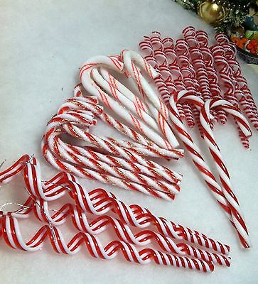 32 pc Sugar coated Peppermint Candy Canes, Spiral Icicle Christmas Ornaments