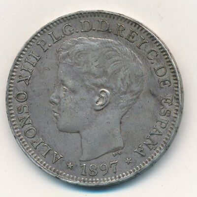 1897 Silver Philippines Un Peso-Very Nice Circulated Coin-Ships Free!