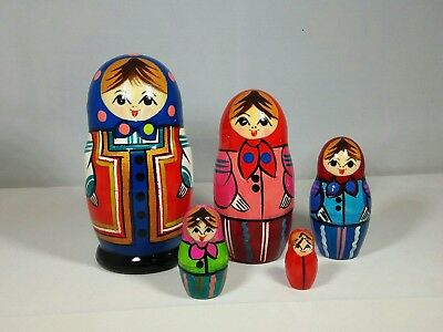 "Matryoshka Dolls – 5 pieces 4"" (H) Wooden Russian Nesting Dolls. Made in Russia."