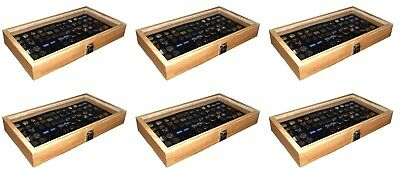 6 Natural Wood Glass Top Lid Black Cufflinks Jewelry Display Storage Box Cases