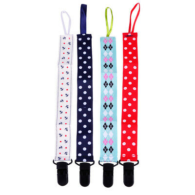 4Pcs Baby Boy Girl Dummy Pacifier Soother Nipple Leash Strap Chain Clip Holder