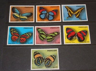Paraguay 1973 Butterflys Set Of 7  Fine  M/n/h  Cond