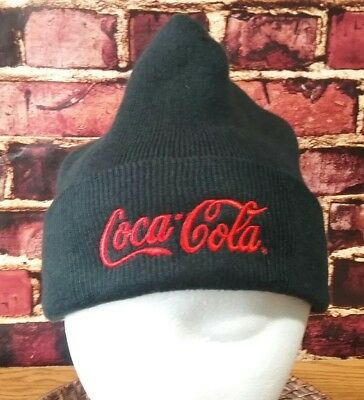 Coca Cola Men's Stocking Cap Logo Beanie Knit Winter Hat Red Black (A0438)