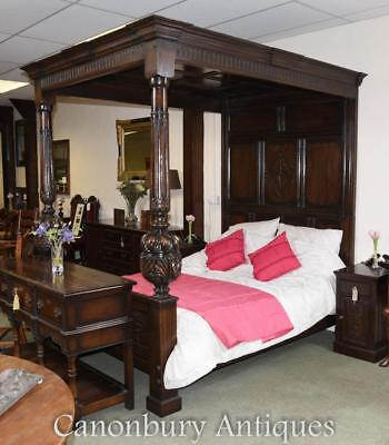 Large Oak Jacobean 4 Poster Bed Hand Carved