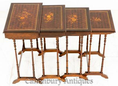 Important French Nest of Tables Parquetry Inlay Rosewood 1870
