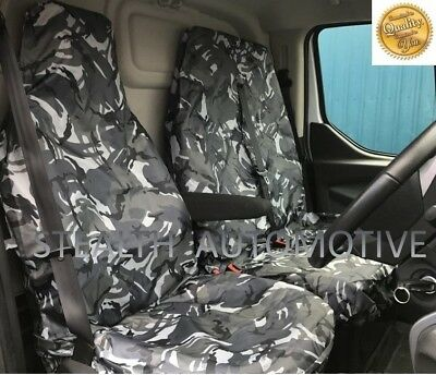 Renault Trafic Sport Van Seat Covers Camouflage Dpm Camo Grey Heavy Duty 2-1