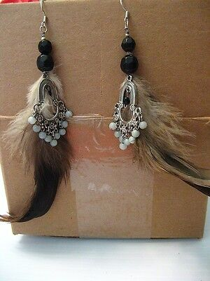 Vintage ? Silver Tone Western Cowboy Indian Real Natural Feather Hook Earrings