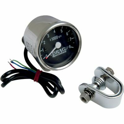 Drag Specialties Chrome/Black Mini Electronic 8000 RPM Tachometer For Harley
